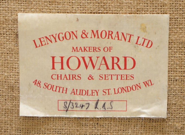 We are delighted to offer for sale this lovely original 1954-1959 Howard & Son's armchair retailed through Lenygon & Morant LTD 48 South Audley St London W1  A very good looking well made and decorative armchair, it has the original label to the