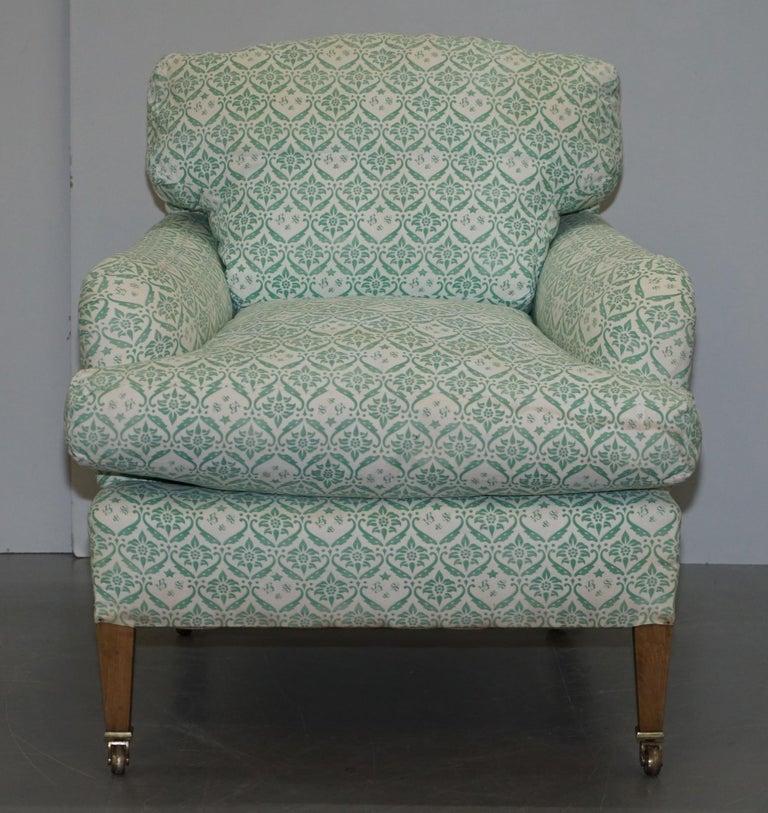 Victorian Rare 1954-1959 Howard & Son's Lenygon & Morant Armchair Original Ticking Fabric For Sale