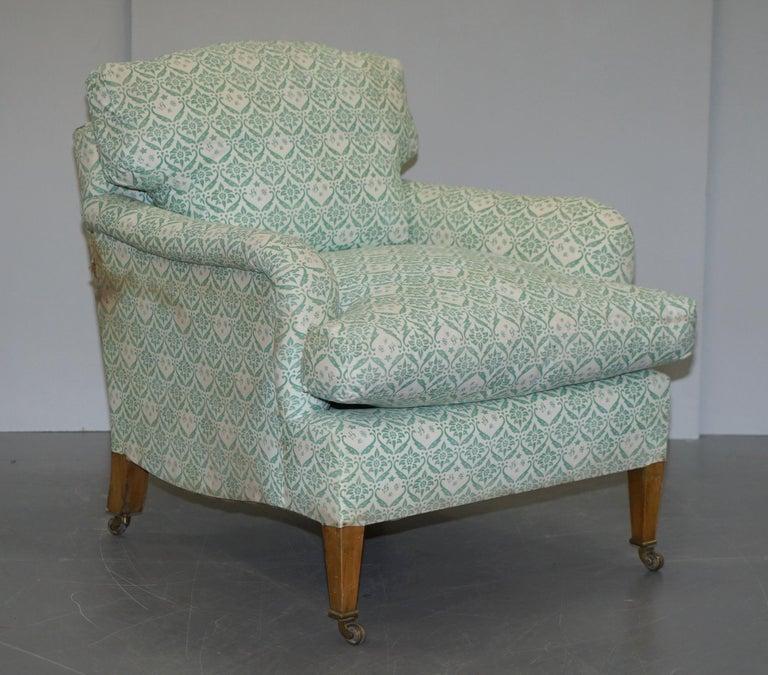 English Rare 1954-1959 Howard & Son's Lenygon & Morant Armchair Original Ticking Fabric For Sale