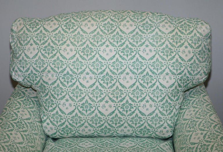 Hand-Crafted Rare 1954-1959 Howard & Son's Lenygon & Morant Armchair Original Ticking Fabric For Sale
