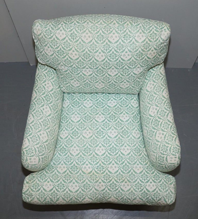 Rare 1954-1959 Howard & Son's Lenygon & Morant Armchair Original Ticking Fabric In Fair Condition For Sale In London, GB