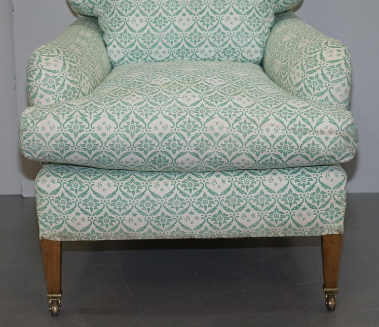 Upholstery Rare 1954-1959 Howard & Son's Lenygon & Morant Armchair Original Ticking Fabric For Sale