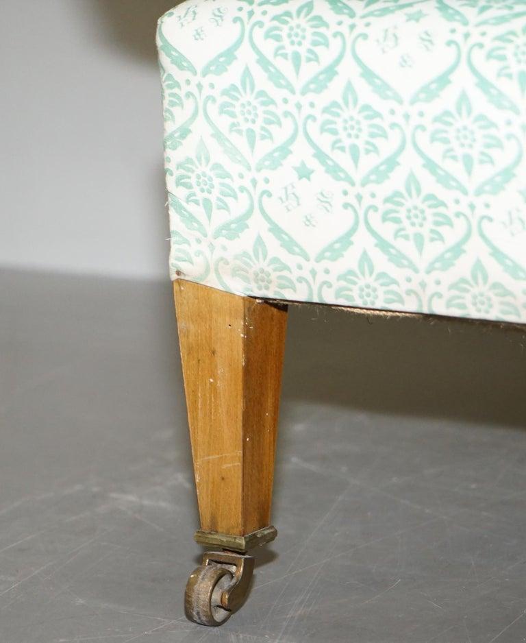 Rare 1954-1959 Howard & Son's Lenygon & Morant Armchair Original Ticking Fabric For Sale 1