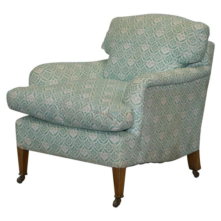 Rare 1954-1959 Howard & Son's Lenygon & Morant Armchair Original Ticking Fabric For Sale