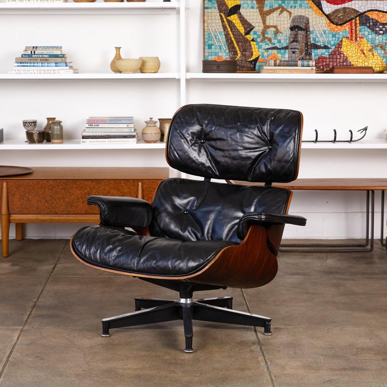 American Rare 1956 First Year Production Eames Lounge Chair with Spinning Ottoman For Sale