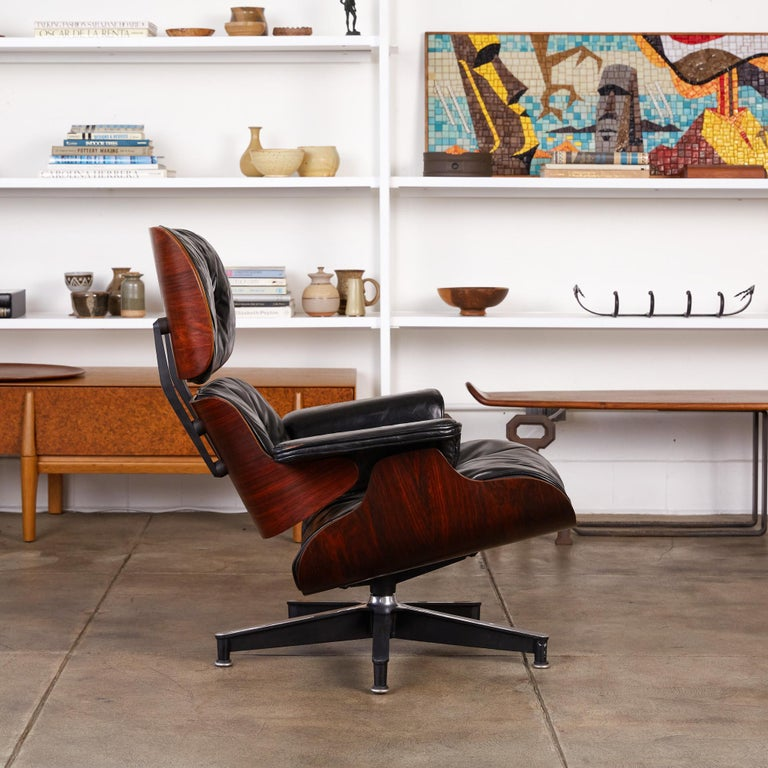 Mid-20th Century Rare 1956 First Year Production Eames Lounge Chair with Spinning Ottoman For Sale