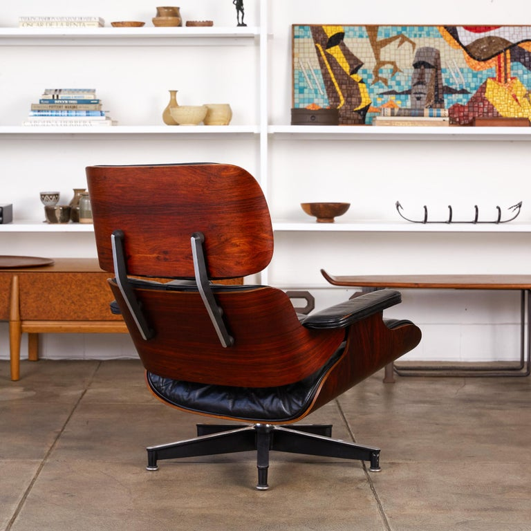 Leather Rare 1956 First Year Production Eames Lounge Chair with Spinning Ottoman For Sale