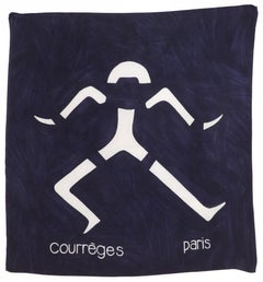 Rare 1960 Courreges Abstract Navy Silk Scarf