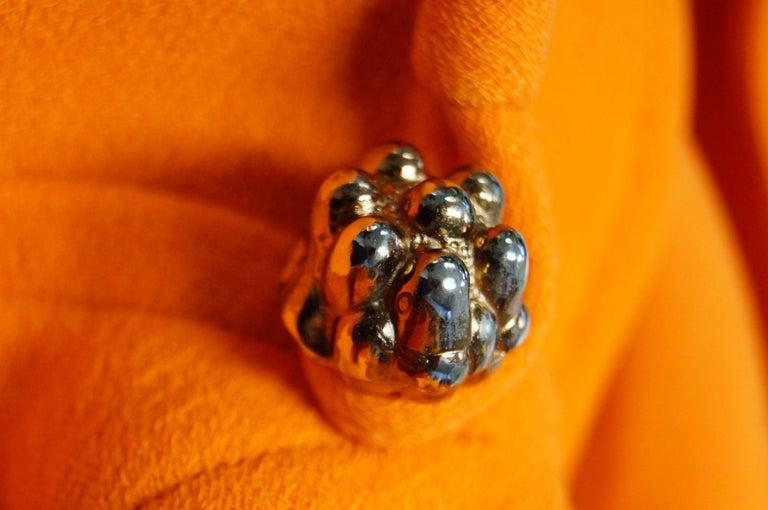 Rare 1960s Bill Blass Orange Mod Mini Dress with Nugget Belt Detail For Sale 6
