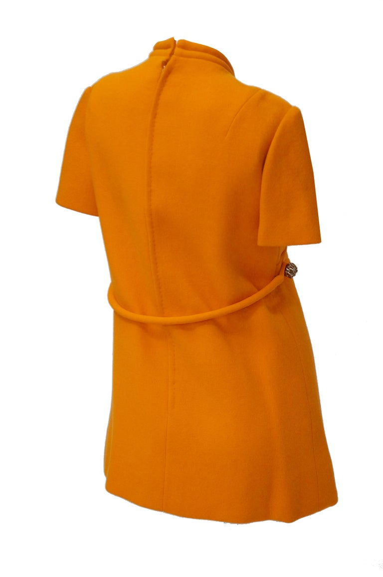 Rare 1960s Bill Blass Orange Mod Mini Dress with Nugget Belt Detail In Good Condition For Sale In Houston, TX