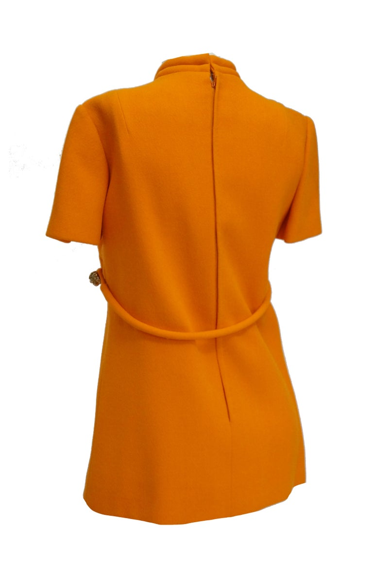 Women's or Men's Rare 1960s Bill Blass Orange Mod Mini Dress with Nugget Belt Detail For Sale