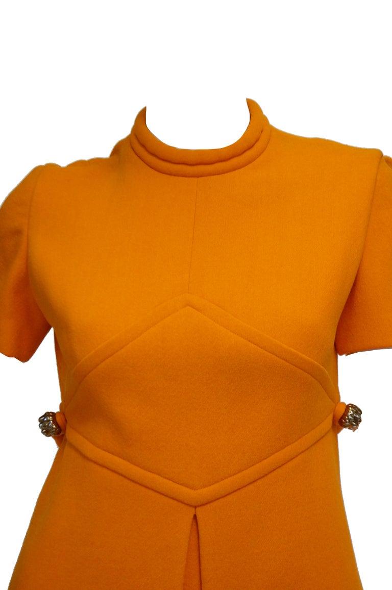 Rare 1960s Bill Blass Orange Mod Mini Dress with Nugget Belt Detail For Sale 1