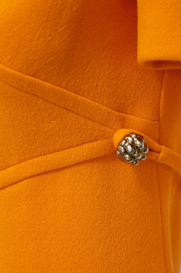 Rare 1960s Bill Blass Orange Mod Mini Dress with Nugget Belt Detail For Sale 2