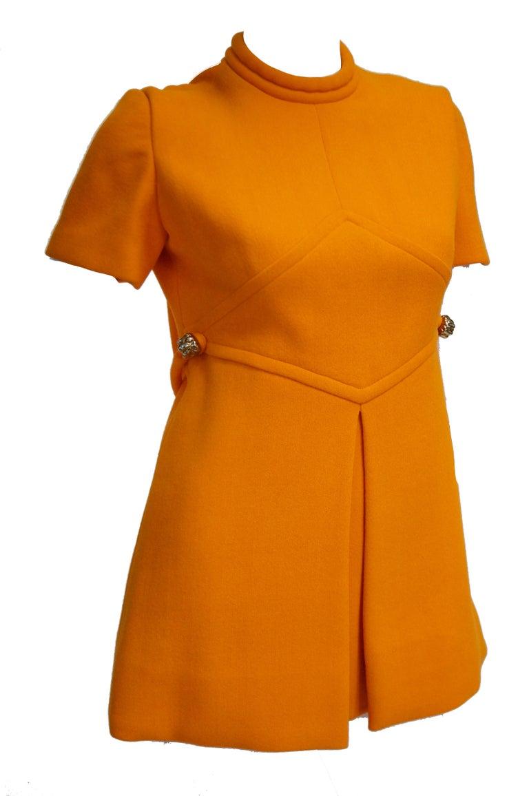 Rare 1960s Bill Blass Orange Mod Mini Dress with Nugget Belt Detail For Sale 3