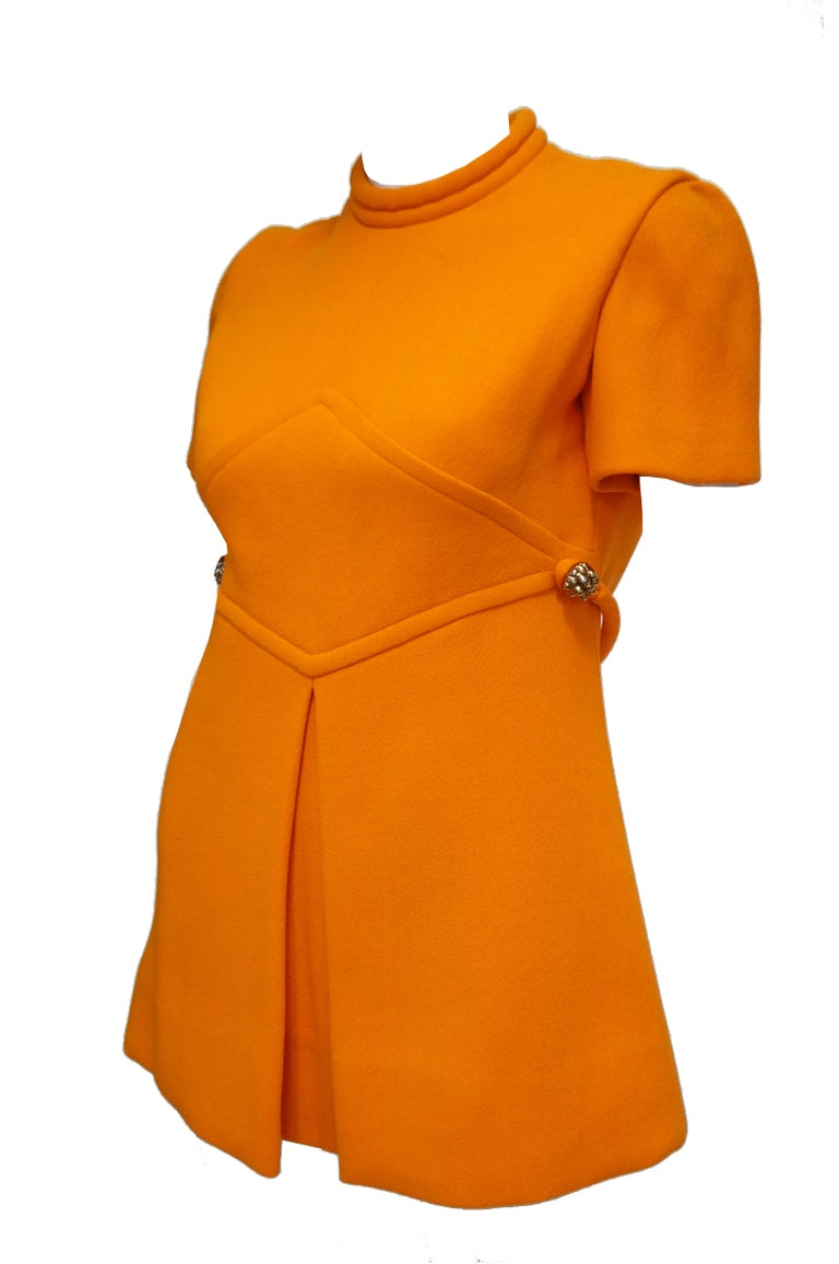 Rare 1960s Bill Blass Orange Mod Mini Dress with Nugget Belt Detail For Sale 4