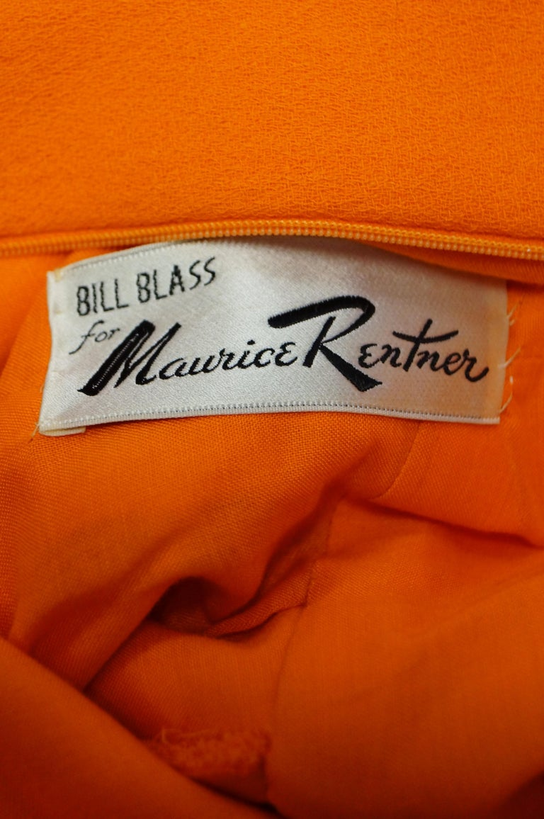 Rare 1960s Bill Blass Orange Mod Mini Dress with Nugget Belt Detail For Sale 5