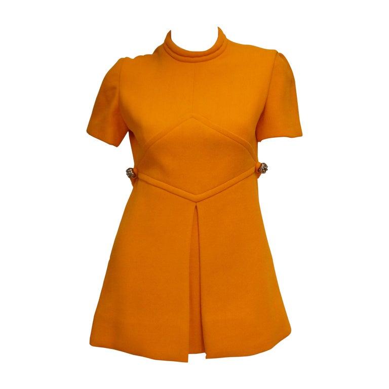 Rare 1960s Bill Blass Orange Mod Mini Dress with Nugget Belt Detail For Sale