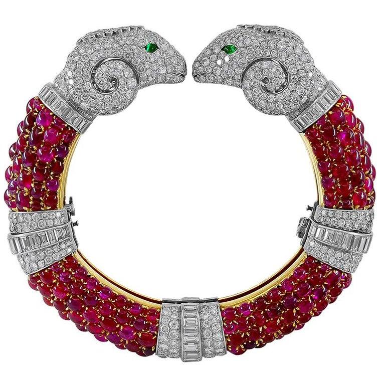 Rare 1960s Bulgari Rome Cabochon Ruby Diamond Double Ram's Head Bangle For Sale