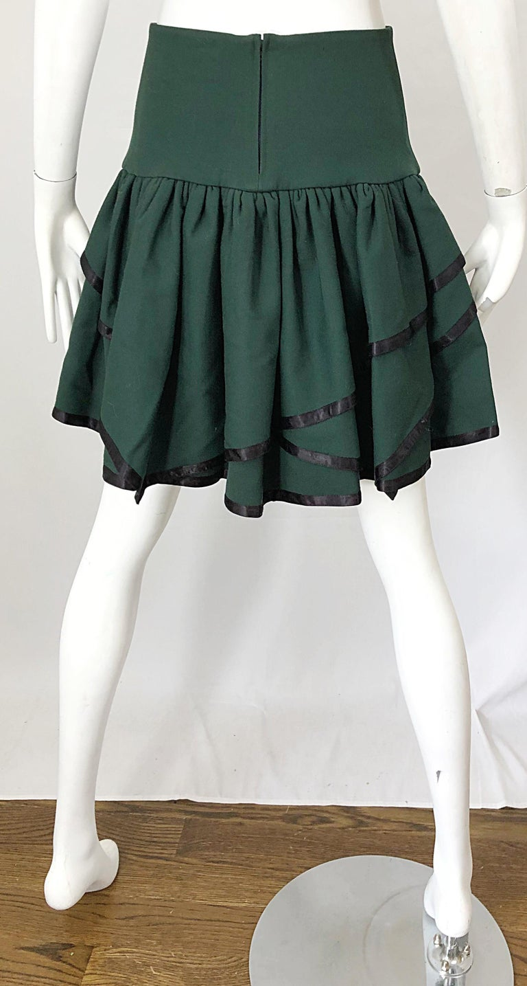Rare 1960s Cardinali Hunter Green Wool Handkerchief Hem Vintage 60s Mini Skirt For Sale 5
