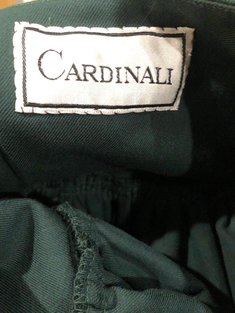 Rare 1960s Cardinali Hunter Green Wool Handkerchief Hem Vintage 60s Mini Skirt For Sale 8