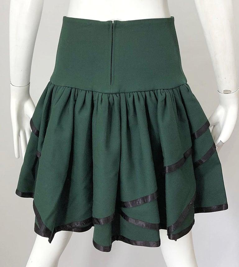 Rare 1960s Cardinali Hunter Green Wool Handkerchief Hem Vintage 60s Mini Skirt For Sale 2