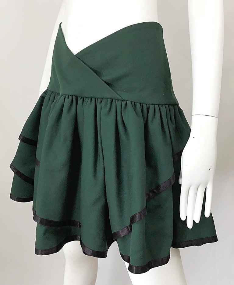 Rare 1960s Cardinali Hunter Green Wool Handkerchief Hem Vintage 60s Mini Skirt For Sale 4