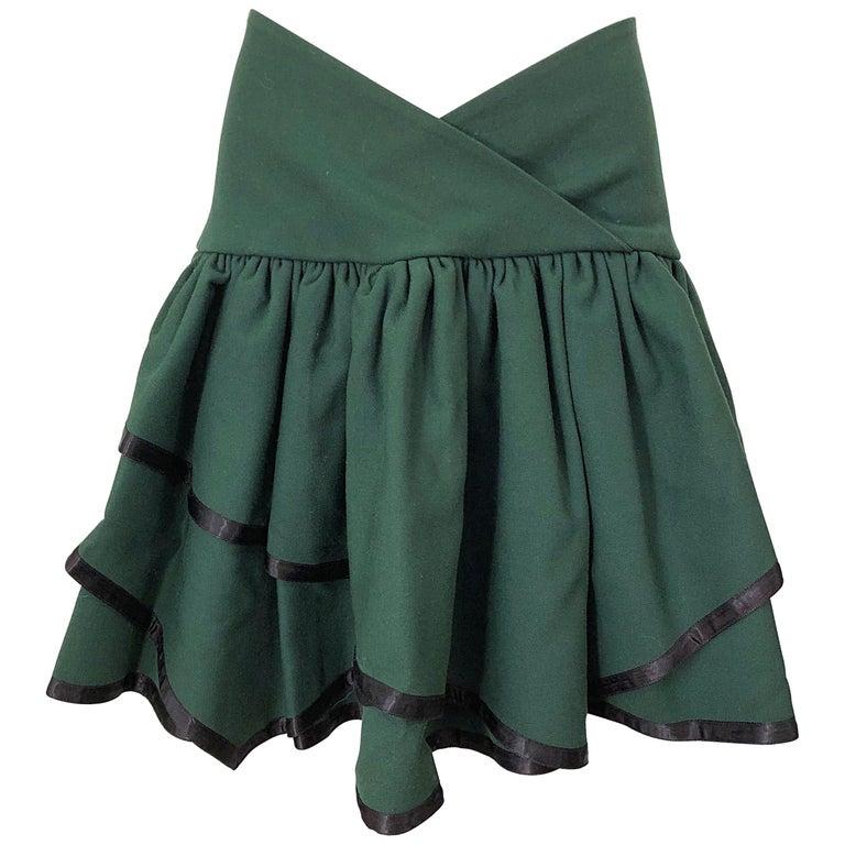 Rare 1960s Cardinali Hunter Green Wool Handkerchief Hem Vintage 60s Mini Skirt For Sale