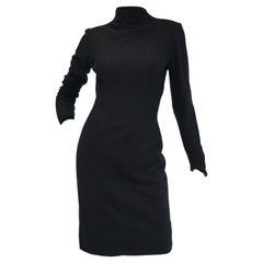 Rare 1960s Eisenberg Black Wool Mod Style Sheath Dress