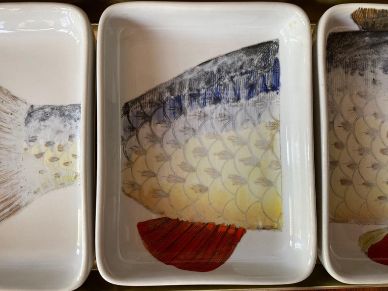 Mid-Century Modern Rare 1960s Fish Pesci Appetizer or Hors D'oeuvre Tray by Piero Fornasetti For Sale
