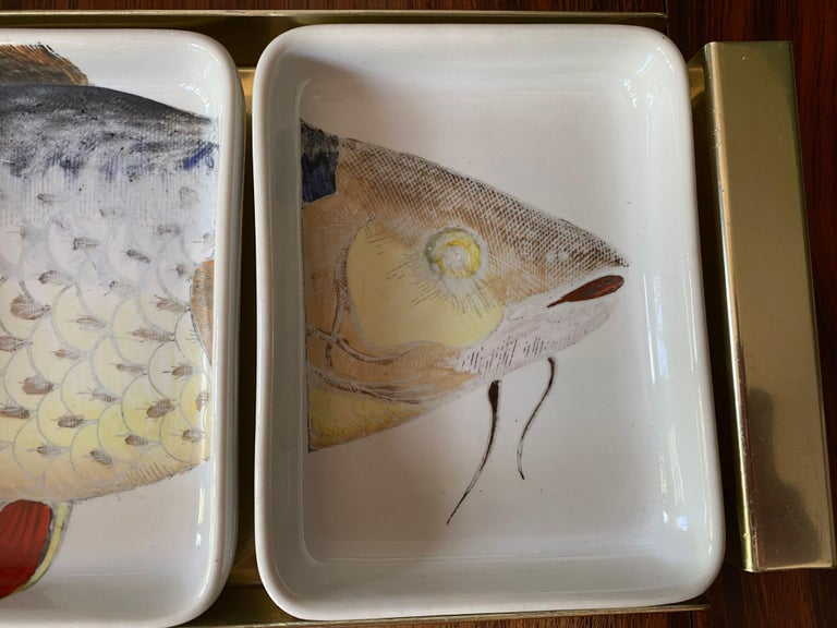 Rare 1960s Fish Pesci Appetizer or Hors D'oeuvre Tray by Piero Fornasetti In Good Condition For Sale In London, London