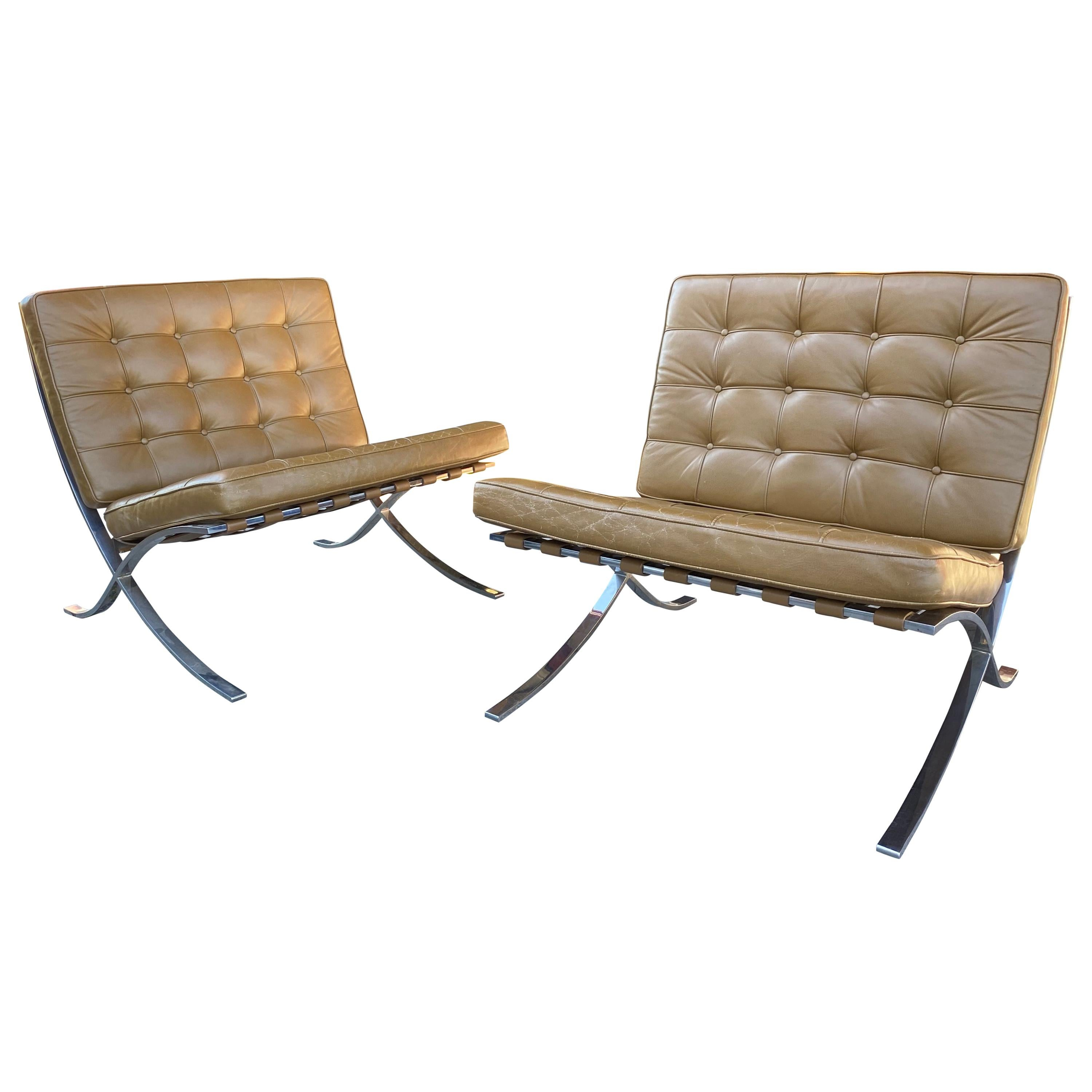 Rare 1960s Gerald R.Griffith Barcelona Chairs, Mies van der Rohe