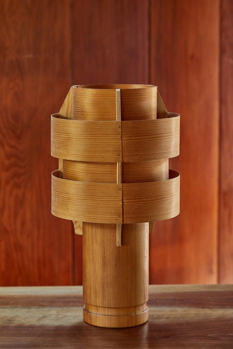 Scandinavian Modern Rare 1960s Hans-Agne Jakobsson Model 243 Wood Table Lamp for AB Ellysett For Sale