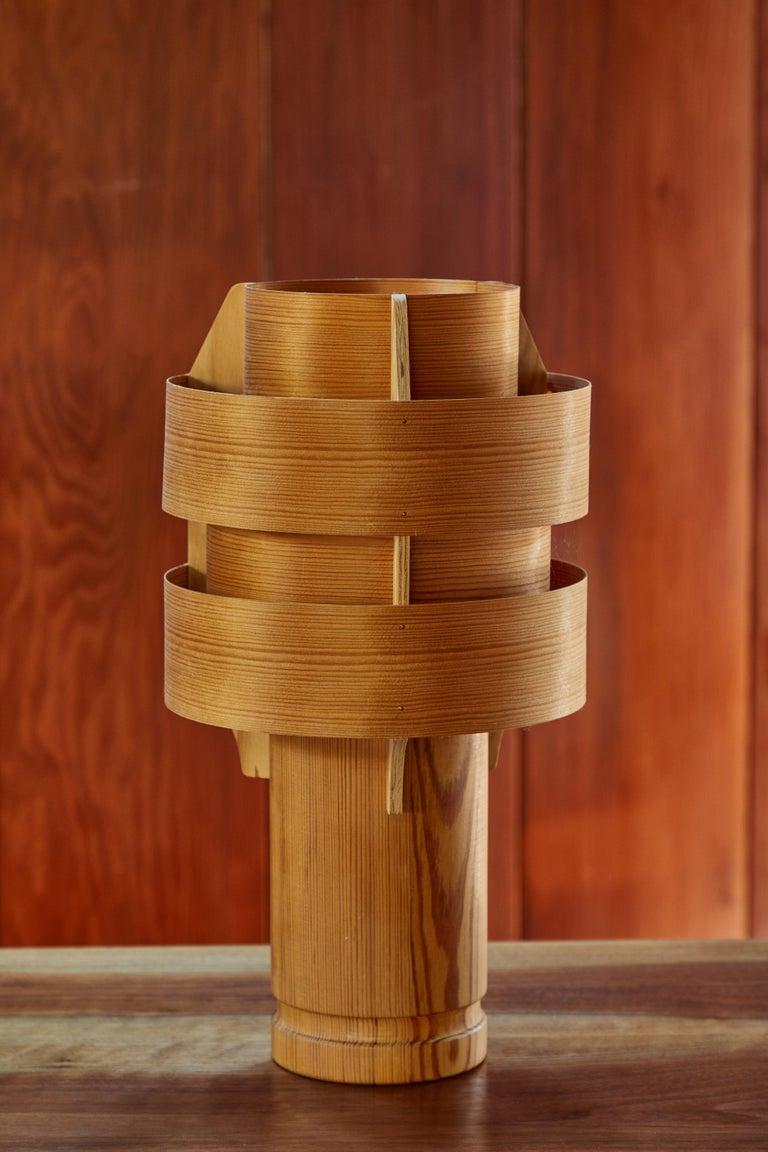 Swedish Rare 1960s Hans-Agne Jakobsson Model 243 Wood Table Lamp for AB Ellysett For Sale
