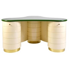 Rare 1960s green and cream Italian Dressing Table or Vanity