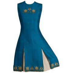 Rare 1960s Nikos-Takis Vintage Blue Shift Dress with Hand Embroidered Tulips