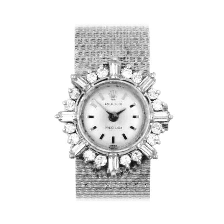"Rare 1960s Rolex 18 Karat Double Diamond ""Sun Spray"" Motif Mesh Bracelet Watch For Sale"