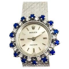 Rare 1960s Rolex 18 Karat White Gold Sapphire Diamond Wristwatch with Box