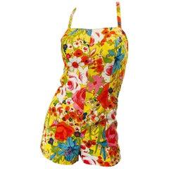 Rare 1960s Tina Leser Mod One Piece Vintage Playsuit Romper 60s Swimsuit Flowers