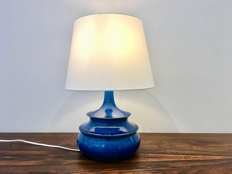 Seltene Dänische Vintage Tischlampe, Türkis Glasiert, von Nils Kähler, 1960er 3