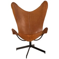 Rare 1960s William Katavolous Sculptural Leather Swivel Sling Butterfly Chair