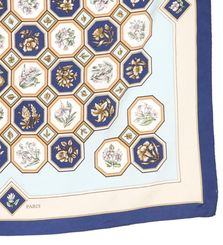 Women's or Men's Rare 1968 Hermes Carrelages by Maurice Tranchant Silk Scarf For Sale
