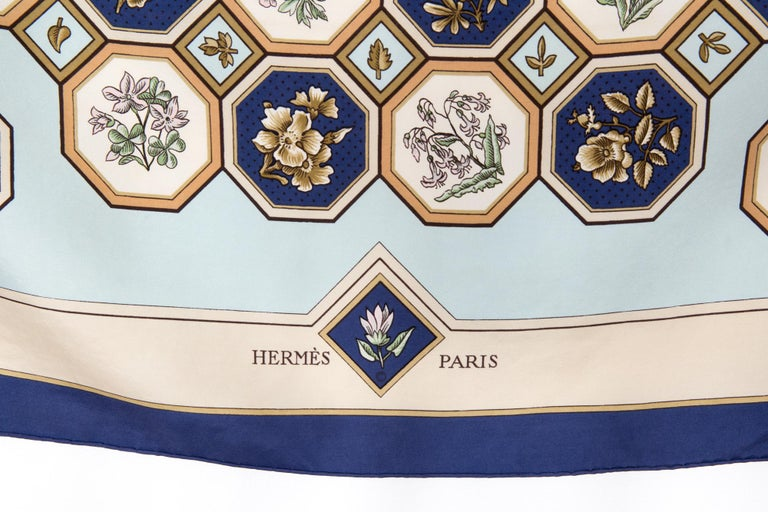Rare 1968 Hermes Carrelages by Maurice Tranchant Silk Scarf For Sale 1