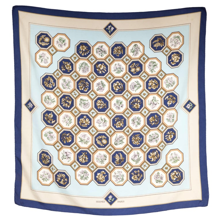 Rare 1968 Hermes Carrelages by Maurice Tranchant Silk Scarf For Sale