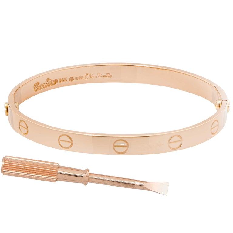 Rare 1970 Aldo Cipullo 18 Karat Rose Gold Rose Gold Love Bracelet Size 16. Metal Type: 18 Karat Rose Gold Metal Weight: 38.6 Grams