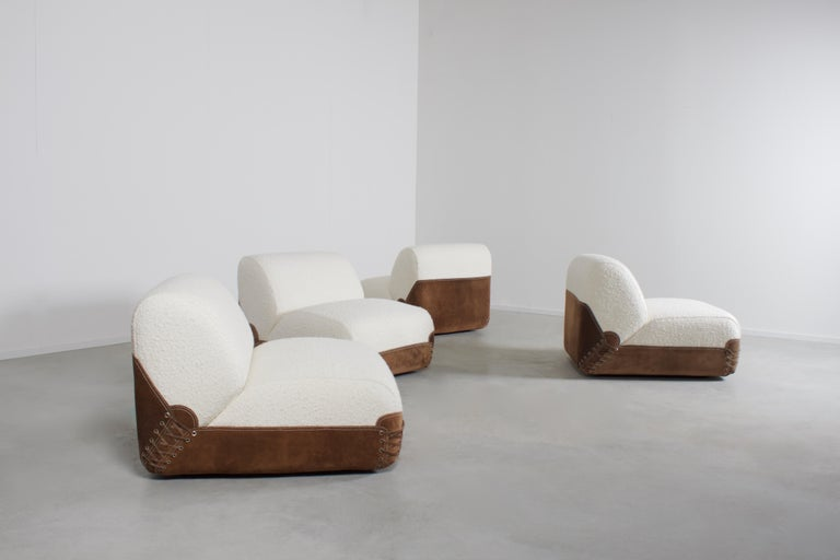 Mid-Century Modern Rare 1970s Bouclé and Suede Sectional Sofa by COR Germany in 1968 For Sale