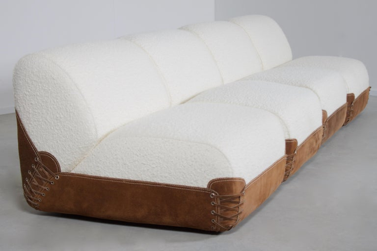 Leather Rare 1970s Bouclé and Suede Sectional Sofa by COR Germany in 1968 For Sale