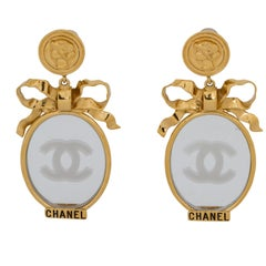 RARE 1970's Chanel Book Piece Mirror Drop Earrings with Box