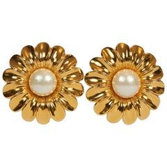 Rare 1970's Chanel Oversized Daisy Pearl Earrings