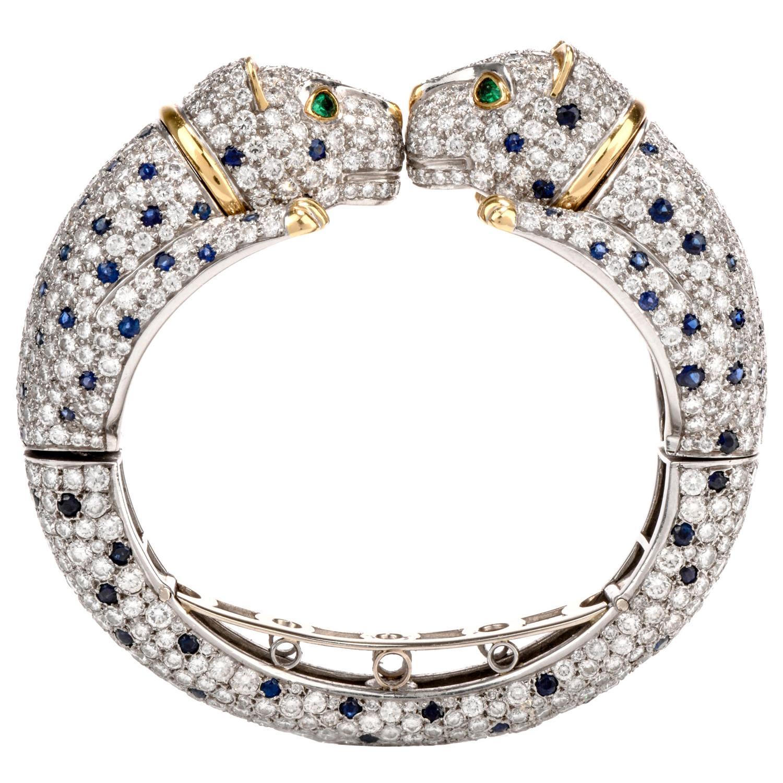 Rare 1970s Double Panther Diamond Sapphire Emerald Bangle-Earrings