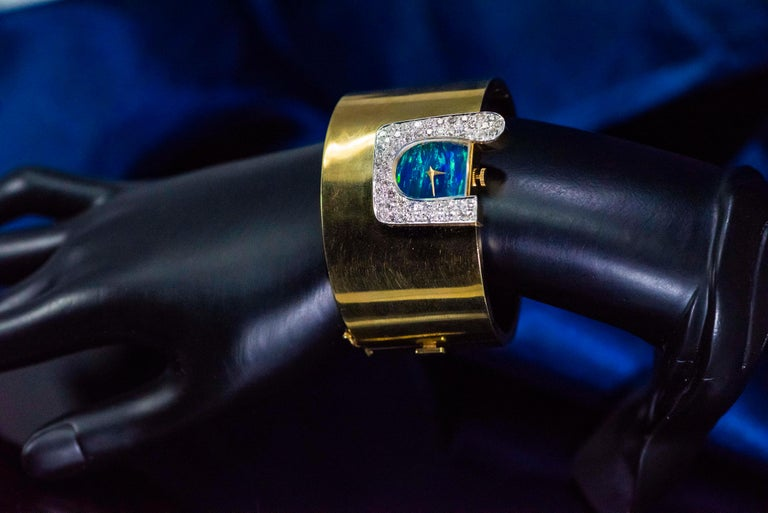 1970s Ebel 18Kt Gold & Platinum Diamond Set Opal Cuff Bangle Bracelet Watch For Sale 4
